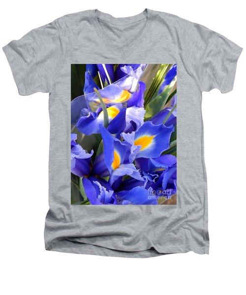 Iris Blues In New Orleans Louisiana Men's V-Neck T-Shirt by Michael Hoard