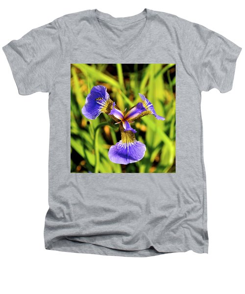 Men's V-Neck T-Shirt featuring the photograph Iris by Cathy Mahnke