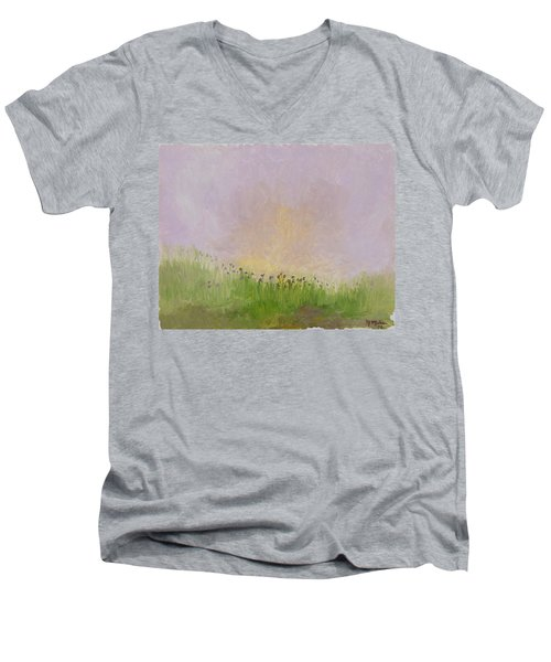 Iris Field Men's V-Neck T-Shirt by Mark Minier