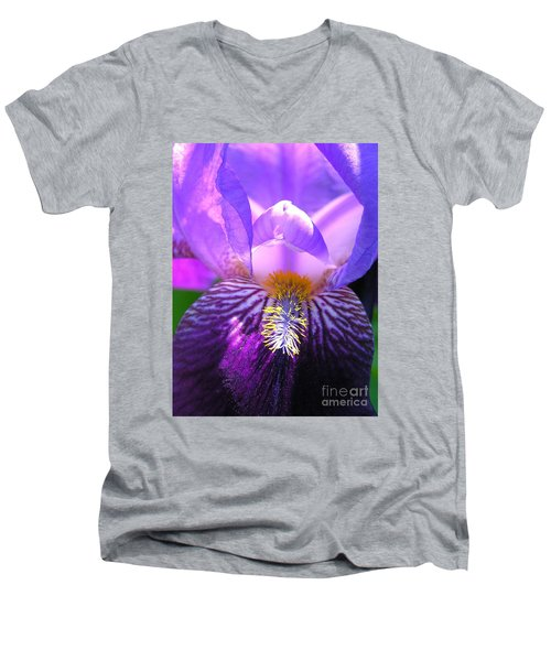 Men's V-Neck T-Shirt featuring the photograph Iris Light by Susan  Dimitrakopoulos