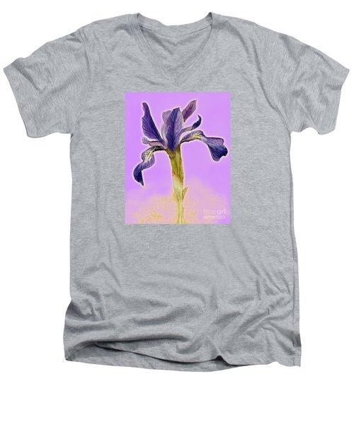 Iris On Lilac Men's V-Neck T-Shirt by Barbie Corbett-Newmin