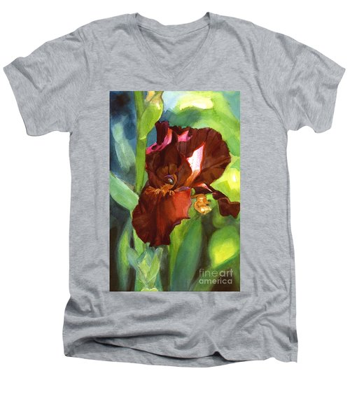 Men's V-Neck T-Shirt featuring the painting Iris Sienna Brown by Greta Corens