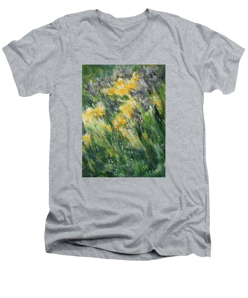 Men's V-Neck T-Shirt featuring the painting Irises by Jane See