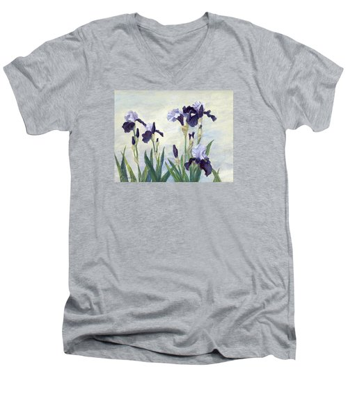 Irises Purple Flowers Painting Floral K. Joann Russell                                           Men's V-Neck T-Shirt by Elizabeth Sawyer