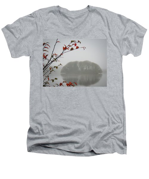 Irish Crannog In The Mist Men's V-Neck T-Shirt