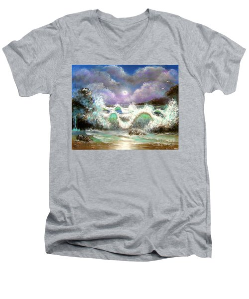 Men's V-Neck T-Shirt featuring the painting Irresistible Force  by Patrice Torrillo