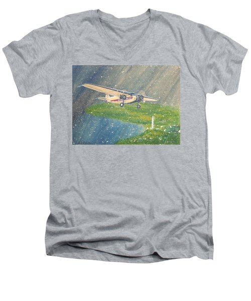 Island Airlines Ford Trimotor Over Put-in-bay In The Winter Men's V-Neck T-Shirt by Frank Hunter