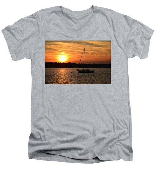 Men's V-Neck T-Shirt featuring the photograph Island Heights Sunset by Brian Hughes
