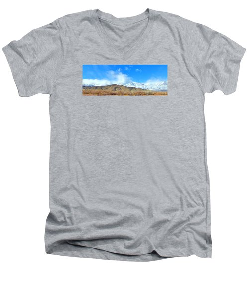 Men's V-Neck T-Shirt featuring the photograph It Snowed Last Night by Marilyn Diaz