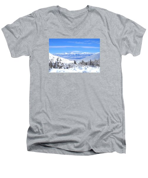 Men's V-Neck T-Shirt featuring the photograph It Snowed by Marilyn Diaz