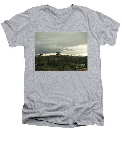 Men's V-Neck T-Shirt featuring the photograph Italian Hillside by Robin Maria Pedrero