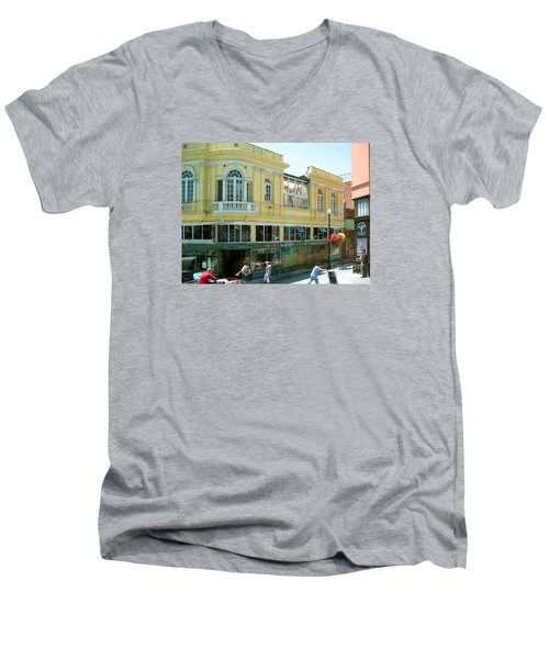 Italian Town In San Francisco Men's V-Neck T-Shirt by Connie Fox