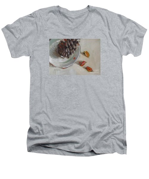 Pine Cone Still Life On A Plate Men's V-Neck T-Shirt by Mary Hubley