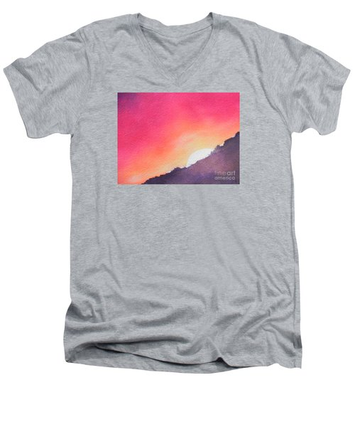 Men's V-Neck T-Shirt featuring the painting It's Not About The Climb  Rather What Awaits You On The Other Side by Chrisann Ellis