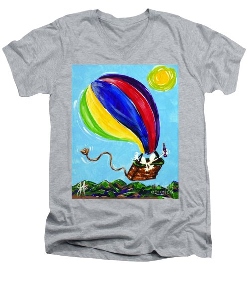 Men's V-Neck T-Shirt featuring the painting Jack And Charlie Fly Away by Jackie Carpenter