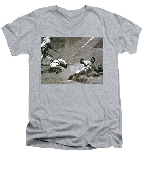 Jackie Robinson Sliding Home Men's V-Neck T-Shirt by R Muirhead Art