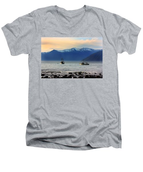 Men's V-Neck T-Shirt featuring the photograph Jackson Bay South Westland New Zealand by Amanda Stadther