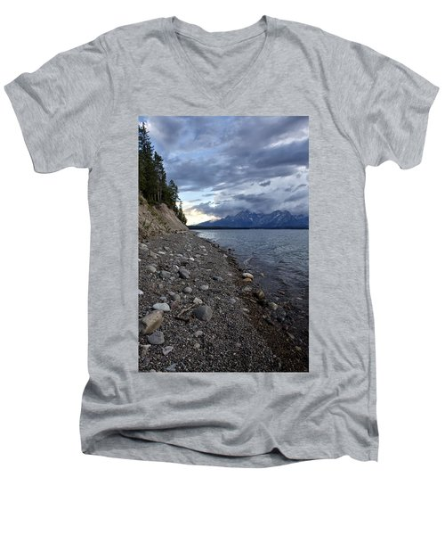 Men's V-Neck T-Shirt featuring the photograph Jackson Lake Shore With Grand Tetons by Belinda Greb