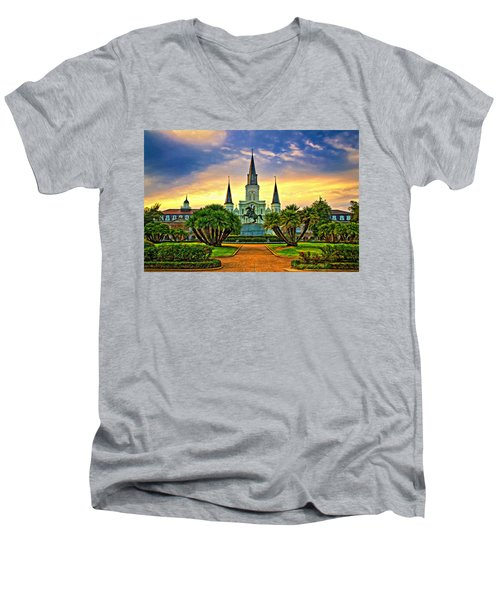 Jackson Square Evening - Paint Men's V-Neck T-Shirt by Steve Harrington