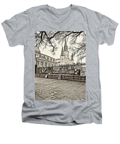 Jackson Square Winter Sepia Men's V-Neck T-Shirt by Steve Harrington