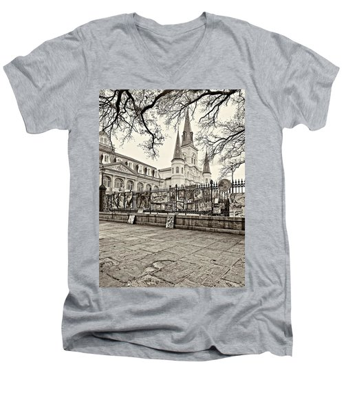 Jackson Square Winter Sepia Men's V-Neck T-Shirt