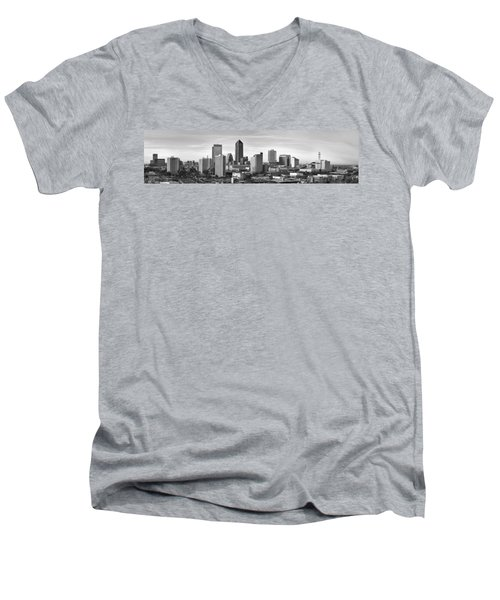 Men's V-Neck T-Shirt featuring the photograph Jacksonville Skyline Morning Day Black And White Bw Panorama Florida by Jon Holiday