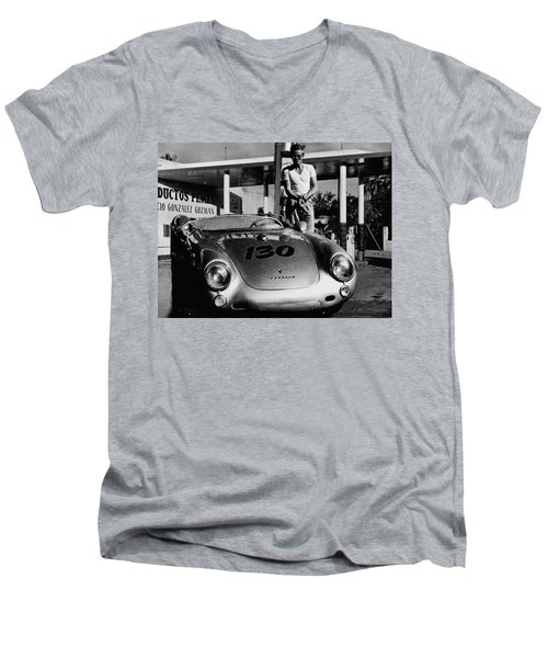 James Dean Filling His Spyder With Gas In Black And White Men's V-Neck T-Shirt by Doc Braham