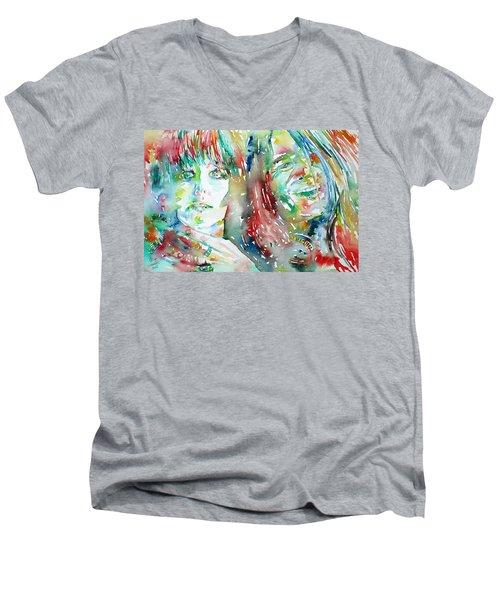 Janis Joplin And Grace Slick Watercolor Portrait.1 Men's V-Neck T-Shirt by Fabrizio Cassetta