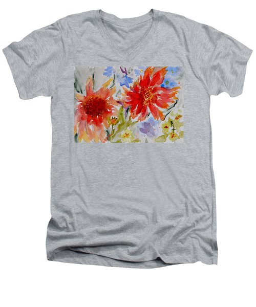 Jann's Gaillardia Men's V-Neck T-Shirt by Beverley Harper Tinsley