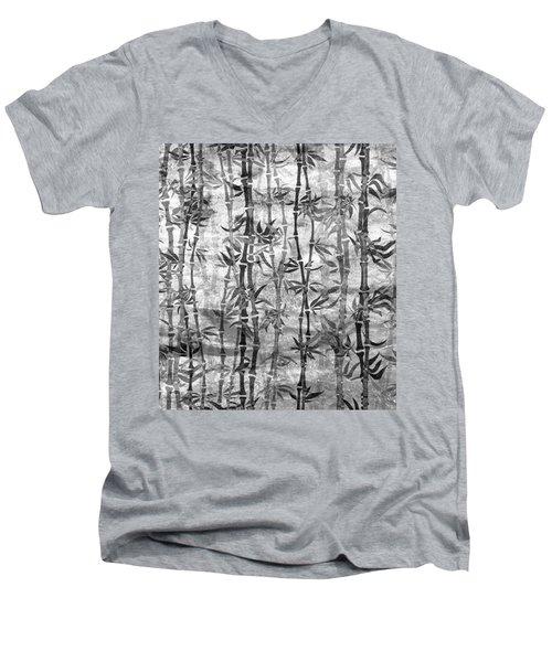 Japanese Bamboo Grunge Black And White Men's V-Neck T-Shirt