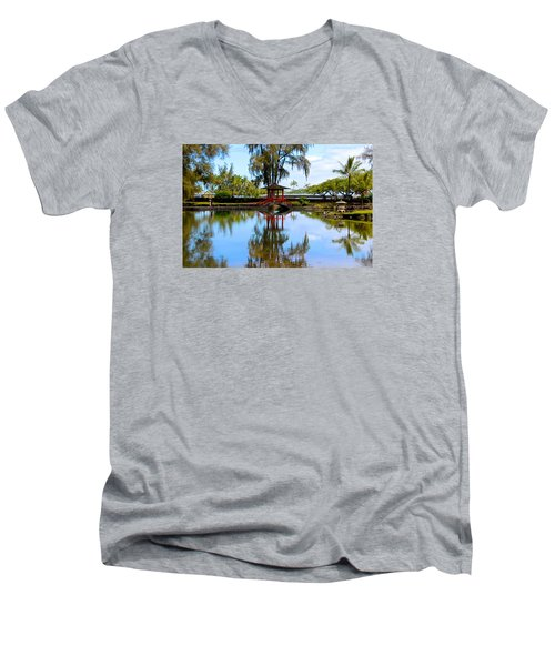 Japanese Gardens Men's V-Neck T-Shirt by Venetia Featherstone-Witty