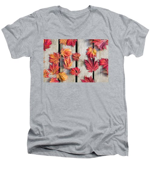 Japanese Maple Tree Leaves On Wood Deck Men's V-Neck T-Shirt