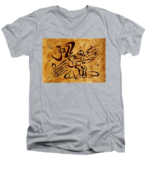 Men's V-Neck T-Shirt featuring the painting Jazz Abstract Coffee Painting by Georgeta  Blanaru