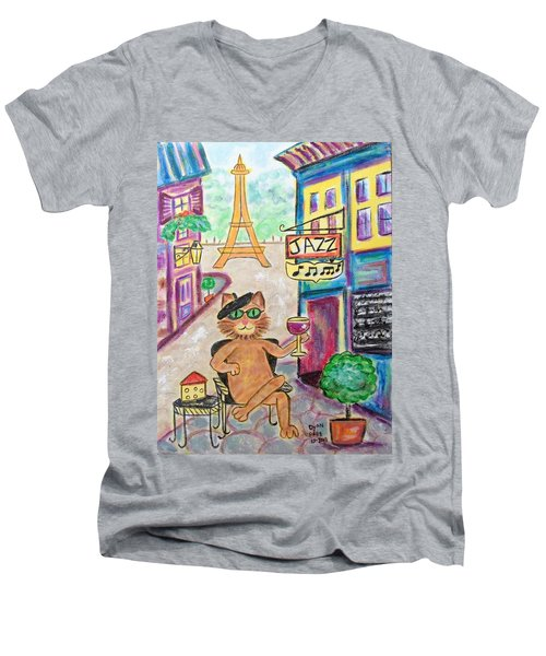 Men's V-Neck T-Shirt featuring the painting Jazz Cat by Diane Pape