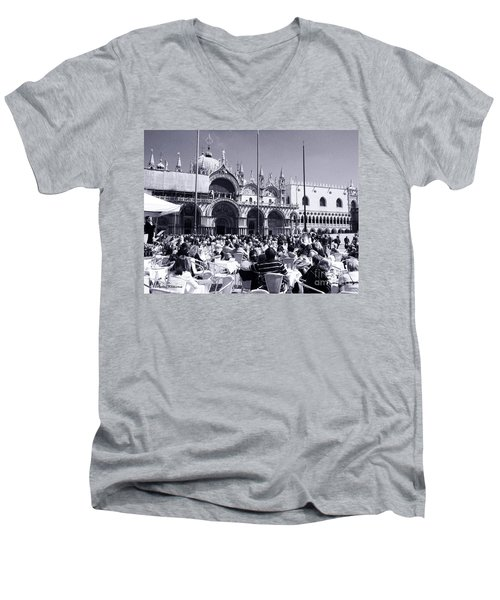 Jazz In Piazza San Marco Black And White  Men's V-Neck T-Shirt