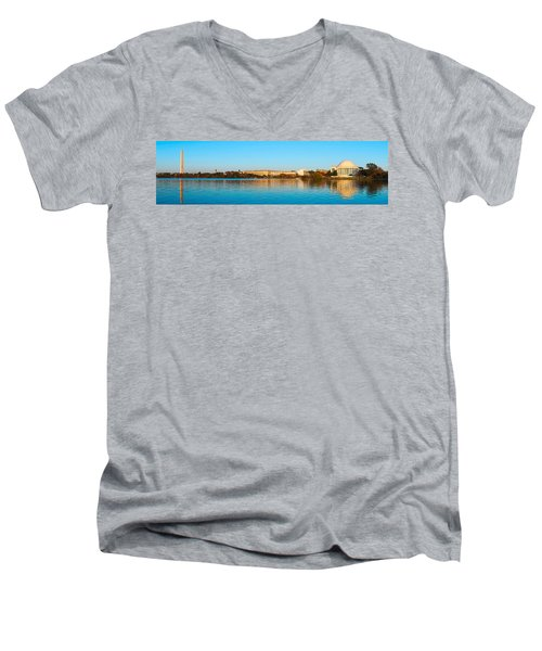 Jefferson Memorial And Washington Men's V-Neck T-Shirt by Panoramic Images