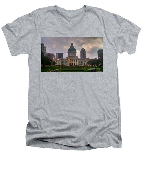Jefferson Memorial Bldg Men's V-Neck T-Shirt by Chris Tarpening