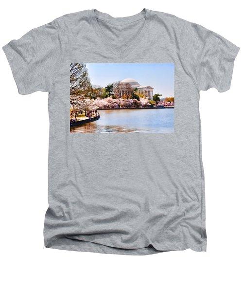 Jefferson Memorial Washington Dc Men's V-Neck T-Shirt by Vizual Studio