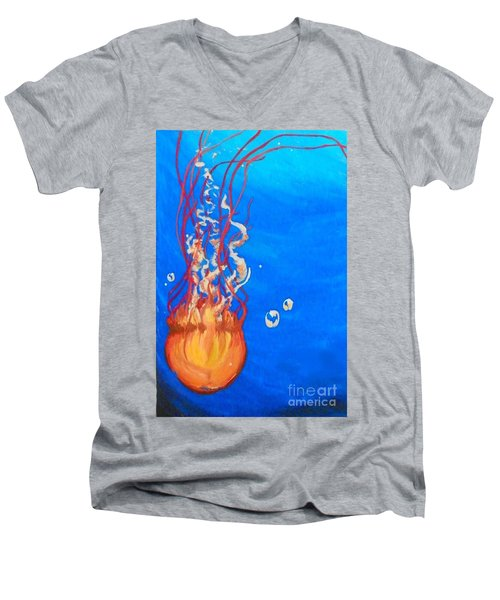 Men's V-Neck T-Shirt featuring the painting Jellyfish by Marisela Mungia