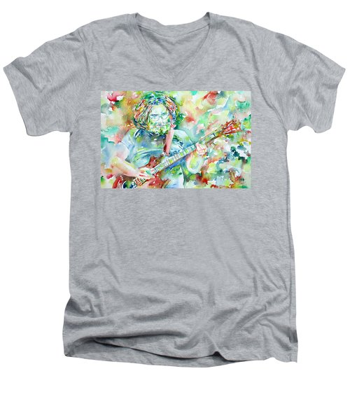Jerry Garcia Playing The Guitar Watercolor Portrait.3 Men's V-Neck T-Shirt