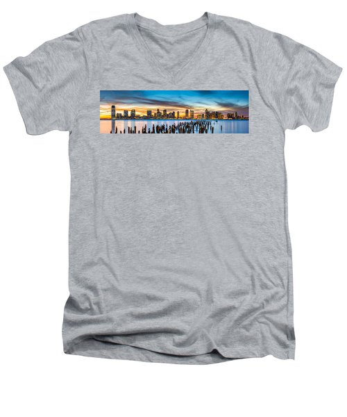 Jersey City Panorama At Sunset Men's V-Neck T-Shirt