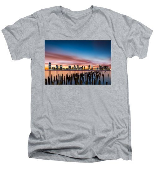 Jersey City Skyline At Sunset Men's V-Neck T-Shirt