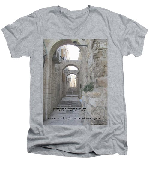 Jerusalem Street Scene For Rosh Hashanah Men's V-Neck T-Shirt