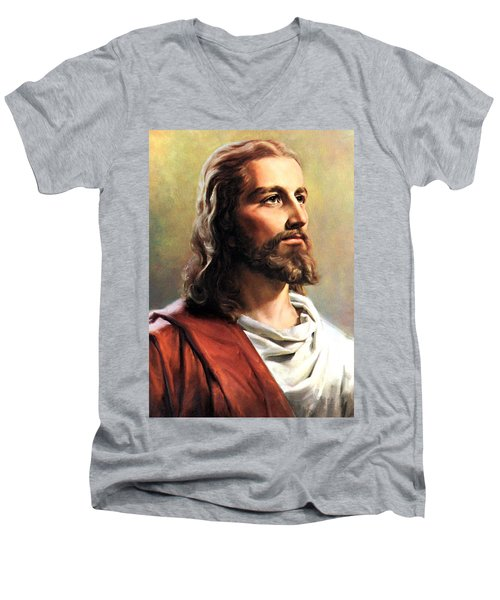 Jesus Christ Men's V-Neck T-Shirt by Munir Alawi