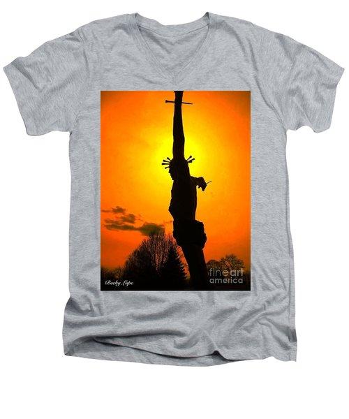 Jesus In Sunset 1 Hope Men's V-Neck T-Shirt by Becky Lupe