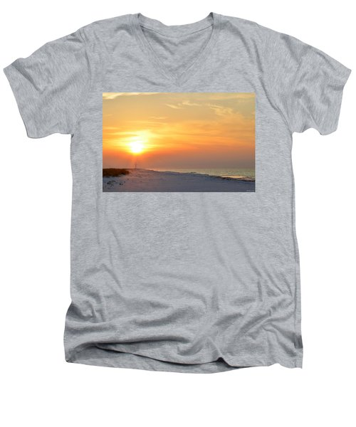 Jesus Rising On Easter Morning On Navarre Beach Men's V-Neck T-Shirt