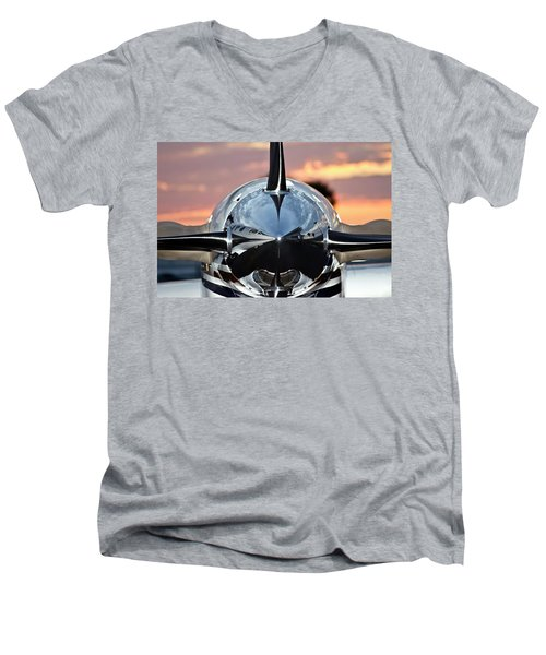 Airplane At Sunset Men's V-Neck T-Shirt