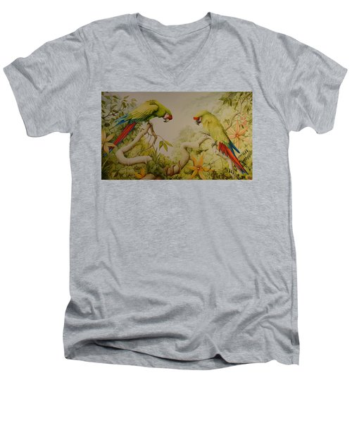 Jewels Of The Rain Forest  Military Macaws Men's V-Neck T-Shirt