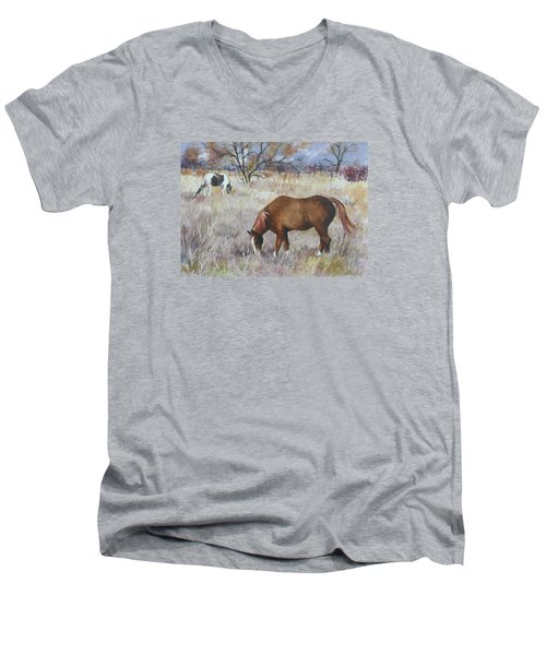 Jill's Horses On A November Day Men's V-Neck T-Shirt by Anne Gifford