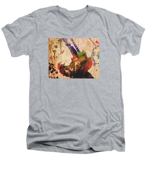 Jimmy Page - Led Zeppelin Men's V-Neck T-Shirt by Ryan Rock Artist